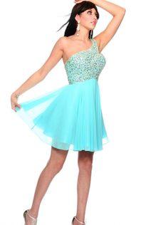 One-shoulder Blue Formal Dress Homecoming Dress/Prom Dress 2015 precious formals P70086