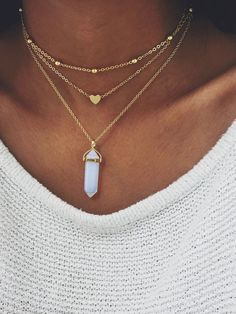 OPAL CRYSTAL 3 LAYERED NECKLACE - GOLD