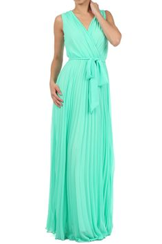 Mint Semi Sheer Full Length Dress With Pleated Skirt And Waist tie With V-neck (FREE SHIPPING)