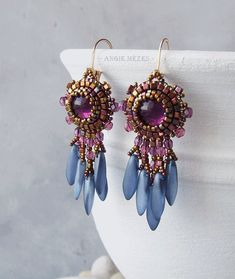 Beaded Earrings DIY Kit, Bead Embroidery Earrings Tutorial, Beading Pattern and Materials, Dangle Earrings for Women, Amethyst Sky Beading Tutorials, Beading Patterns, Beading Ideas, Seed Bead Jewelry, Beaded Jewelry, Diy Jewelry, Jewelery, Jewelry Making, Diy Bead Embroidery