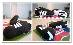 soccer cleats are fondant covered cakes, on top of a gumpaste Chivas jersey     Sport is  great way to keep fit. Get into football and play like a pro, or at least have some fun. More at: www.cheapestfootballkits.com/