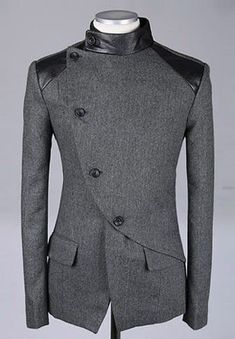 Men Fashion British Style Long Sleeve Slant Buttons Design Grey Polyamide Coat M/L/XL@S0-6381-1g: