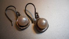 Vintage Solid Sterling Silver genuine natural pearl dangle earrings by TheVintageAdvantages on Etsy