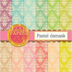 Pastel damask digital paper Pastel Damask backgrounds vintage kraft paper style x 12 #etsymntt #clipart