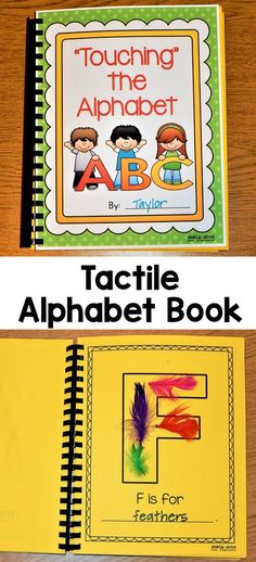 Have your children make this cute tactile alphabet book to help them learn their letter sounds. Children will glue objects onto each letter page, which will help them become familiar with how each letter is formed as well as the sound each letter makes. Preschool Letters, Learning Letters, Kindergarten Literacy, Preschool Classroom, Preschool Learning, Toddler Learning, Early Learning, Literacy Centers, Teaching Letter Sounds