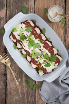 Quick & Easy Mole Cauliflower Enchiladas with Roasted Garlic Cashew Cream (Vegan, Gluten Free)