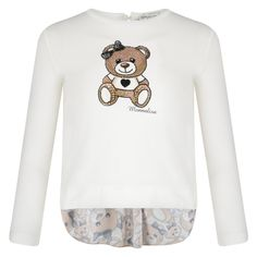 Monnalisa Girls Off White Long Sleeve T-Shirt