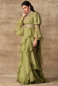 Iris apple green embroidered ruffle sari in silk chiffon and organza Indian Gowns Dresses, Indian Fashion Dresses, Dress Indian Style, Indian Designer Outfits, Dresses For Women, Indian Fashion Trends, Saree Fashion, Pakistani Dresses, Indian Wear