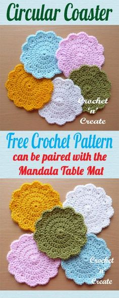 Free crochet pattern for circular coaster, pair with my Mandala Table Mat to make a set. #crochet