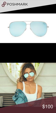 Quay x Desi Perkins High Key in Blue Bought it from Nordstrom and decided to pass on them. Tags and Nordstrom return stickers still attached. Black case included. They are limited edition, and sold out everywhere. Price firm. No trades. Quay Australia Accessories Sunglasses