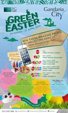 WIN AMAZING PRIZES! Start collecting the eggs 24 Mar - 27 Apr 2014 on #GreenEasterGC by spending IDR 500K* at Gandaria City's tenants then register at our Easter Booth GF (in front of Starbucks).  (*T&C apply)