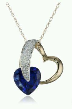 Jewelry Necklace Heart Diamond Pendant Gift New Blue Sapphire Created Gem Lady