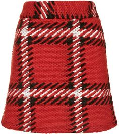 Womens poppy super high-waisted checked skirt - red, red from Topshop - £32 at ClothingByColour.com