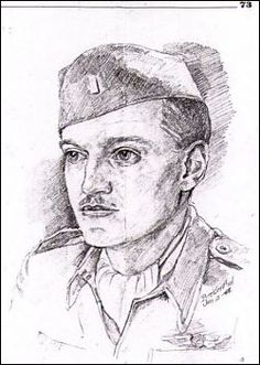 This is a sketch of Don Phillips made by a fellow POW at Stalag Luft III. It is dated Jan. 3, 1944. It is the one piece of paper carried by Don during the entire Forced March. He wrote on the back of it where they ended up each day, until arrival at Stalag VIIA, Moosburg, Germany.