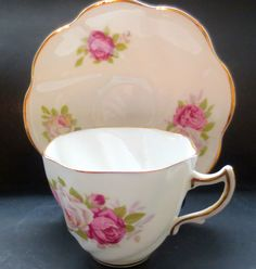 Staffordshire CLARE Roses Cup and Saucer Bone China Tea England