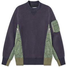 SACAI SACAI SPONGE SWEAT X MA-1 PULLOVER. #sacai #cloth Navy Blue Sweater, Blue Sweaters, Khaki Green, Military Fashion, Hoodies, Sweatshirts, Cool Style, Pullover, Long Sleeve