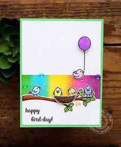 Sunny Studio Stamps: A Bird's Life Rainbow Birdies Happy Day Card by Vanessa Menhorn