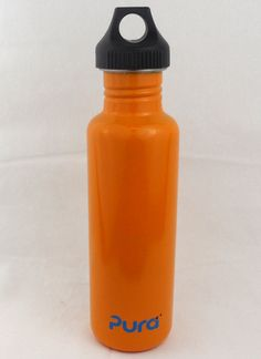 Pura 0.8L Stainless Steel Water Bottle with Stainless Loop Cap- Orange. Starting at $1 on Tophatter.com!