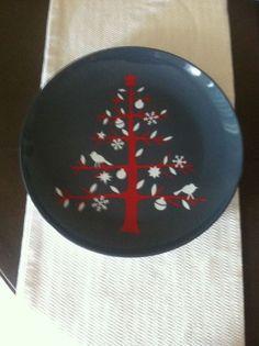 "Crate & Barrel Holiday Red Tree Platter 13 1/4"" #369-750 #CrateBarrel"