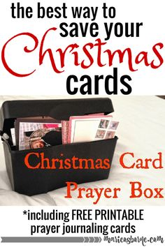 What a great idea for all those old Christmas Cards! Put them in an index card box and get ready to pray for your friends all year, with your Christmas Card Prayer Box!