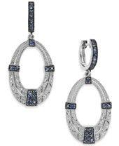 Sterling Silver Sapphire (3/4 ct. t.w.) and Diamond (1/8 ct. t.w.) Oval Drop Earrings