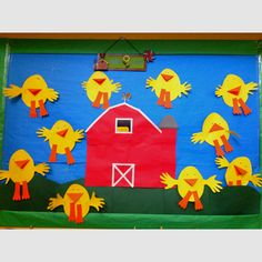 """My classroom's """"on the farm"""" wall made with hand traced chickens! :)"""