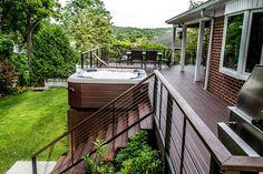 "Bullfrog spa 462 Hot Tub with Trex Decking and Cable rail - traditional - porch - new york - Long Island Hot Tub ""Hot Tub and Pool Experts"" Deck Stairs, Deck Railings, Cable Railing, Pergola Patio, Backyard Patio, Backyard Ideas, Deck Landscaping, Pergola Kits, Pergola Ideas"