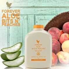 Forever Living Aloe Vera Bits & Peaches Gel. All the goodness of Aloe Vera with added pieces of peach for a sweet taste.