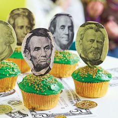 On the Money - Presidents' Day cupcake/muffin toppers (just remember: Ben Franklin was NOT a president)