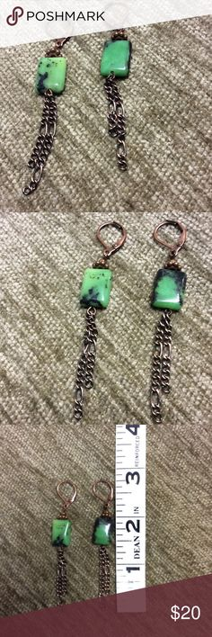 """Chrysoprase and copper earrings Puffed rectangular beads of Chrysoprase with copper leverbacks, beads and chain. Approx 3"""" in length. EUC Jewelry Earrings"""