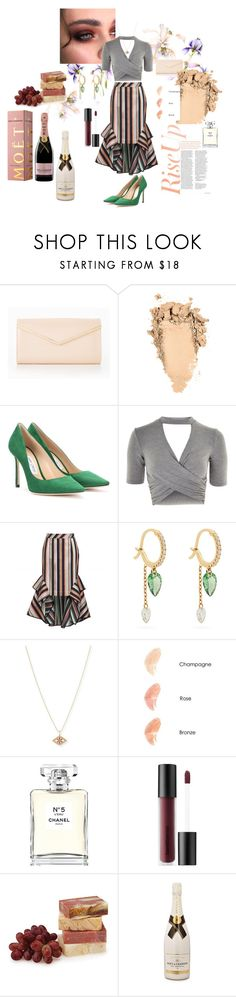 """""""Champagne"""" by missamandapmoss ❤ liked on Polyvore featuring Jimmy Choo, Topshop, Theo, Raphaele Canot, Sydney Evan, Nude by Nature, Chanel, Bare Escentuals and MoÃ«t & Chandon"""