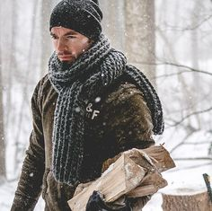 Oversized scarf / chunky knit scarf / mens by HuntandSparrow