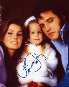 perfect beautiful Elvis Presley family portrait, with Priscilla and Lisa Marie