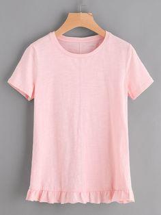 Shop Frill Hem Slub Tee online. SheIn offers Frill Hem Slub Tee & more to fit your fashionable needs.