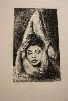 Meditation.  Equilibrio dei corpi.rielaborazione di una serie di scatti del fotografo Michel Pilòn.  supporto cartoncino formato 50x70