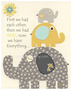 Kids Wall Art Nursery Decor // Baby Boy Room Art // Set of 3 8x10 // Nursery Wall Art Decor // Yellow Teal Gray // Elephant, ABC, Alphabet. $50.00, via Etsy.