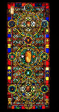 Smith Museum of Stained Glass Windows, Chicago | One of a pair of medievalized windows from around 1900, design and manufacture attributed to Tiffany and Associated Artists. The inspiration for these windows came from the geometric patterns in Byzantine manuscript illumination.