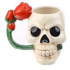 Ceramic Skull Shaped Mug with Red Rose