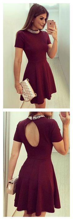 A Line Burgundy High Neck Short Sleeves Homecoming Dresses Party Dresses Prom Dresses Graduation Dresses,YY42