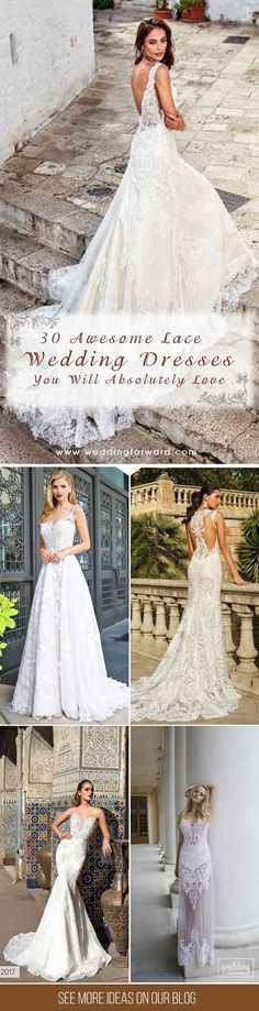 30 Lace Wedding Dresses That You Will Absolutely Love ❤ Want to get a vintage elegant feel? Achieve it with stunning lace wedding dresses from famous designers from all over the globe. See more: http://www.weddingforward.com/lace-wedding-dresses/ #wedding #lace #dresses