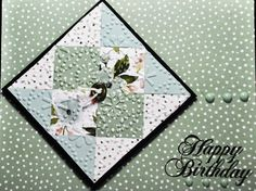 handmade quilt card by  bensarmom  ... soft mint and blue with black ink & mat ... embedded embossing with embossing folder ... block tipped to diamond position makes for a more dynamic look ...