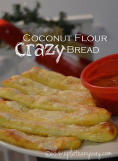 Coconut Flour Crazy Bread   This easy gluten free bread recipe makes for a great snack or appetizer! Dip them in marinara sauce for even more flavor!