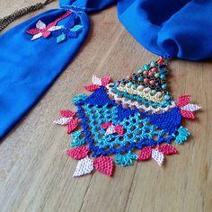 Blue needlelace foulard,scarve. Turkish needlelace www.etsy.com/shop/crafteller