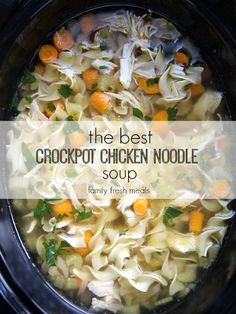 And what I love even more is soup that I can cook in the crockpot. The is The Best Crockpot Chicken Noodle Soup EVER! Crock Pot Slow Cooker, Slow Cooker Recipes, Crockpot Recipes, Cooking Recipes, Healthy Recipes, Delicious Recipes, Best Crockpot Chicken, Crockpot Chicken Noodle Soup, Simple Chicken Noodle Soup