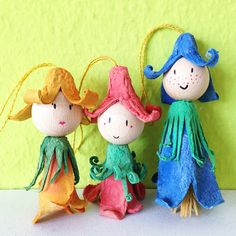 Egg Carton Flower Fairies. I think these could be made into angels too