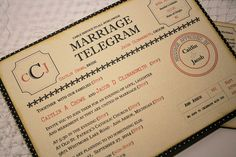 Items similar to Vintage Style Wedding Telegram on Etsy 50s Wedding, Wedding Paper, Dream Wedding, Wedding Bells, Wedding Stuff, Vintage Wedding Stationery, Vintage Weddings, Wedding Favors, Wedding Invitations