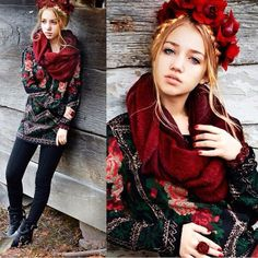 pattern top and red scarf