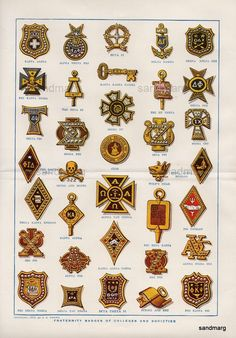 1913 Chart of Fraternity Badges of Colleges and Societies.