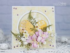 Easter card with Craft&You Design papers and dies, Marianne D die and Wild Orchid Crafts flowers. Hand Made Greeting Cards, Making Greeting Cards, Paris Cards, Holiday Cards, Christmas Cards, Marianne Design Cards, Card Making Designs, Wild Orchid, Beautiful Handmade Cards