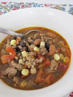Taco soup- 1 lbs of cooked hamburger, 1 can pinto beans, 1 can black beans, 1 can of rotel tomatoes undrained, 1 package of ranch dressing, 1 package of taco seasoning, 1 cup frozen corn or 1 can of drained corn, 5 cups water.  Put in crock pot on low 8-9 hours. Serve with fritos sour cream, and cheese if desired